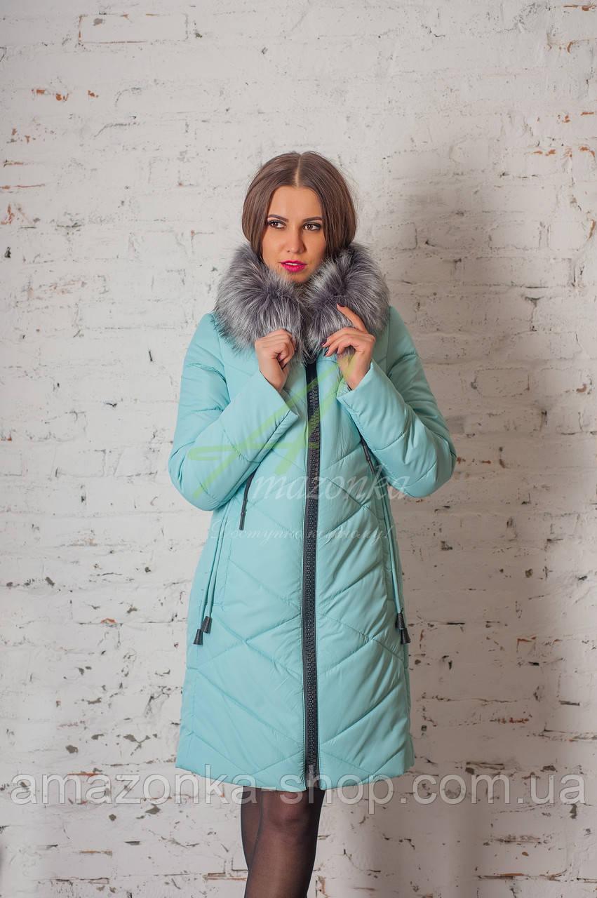 Брендовое пальто с мехом для женщин сезона зима 2017-2018 - (модель кт-167)