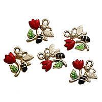 Подвеска Цветы и Пчёлка, Светло-золотой, Красный & Зеленый, Эмалью, Цинковый сплав, 18 мм x 16 мм