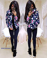 Женская зимняя короткая куртка с рисунком 640134, фото 1