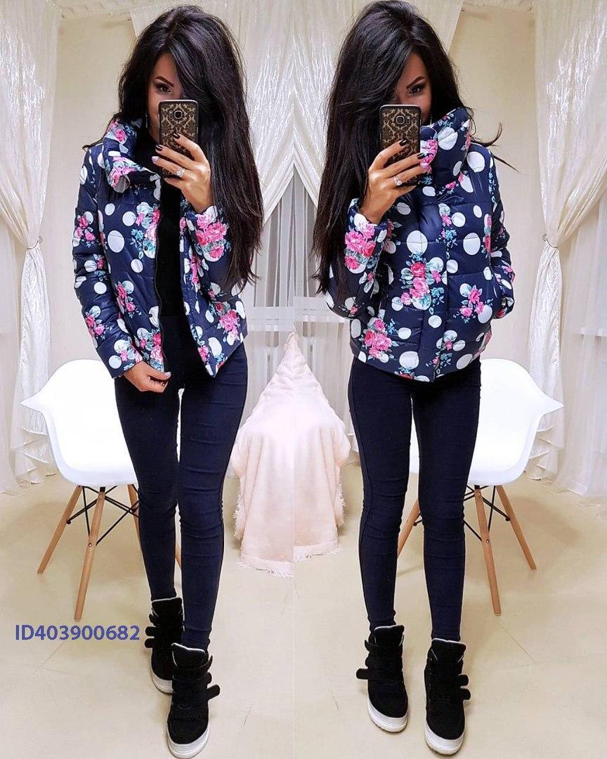 Женская зимняя короткая куртка с рисунком 640134
