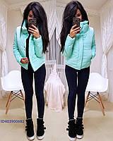 Однотонная женская зимняя куртка короткая 640135