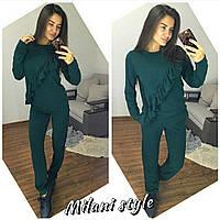 Женский спортивный костюм из ангоры с рюшами на кофте 2105127r