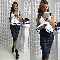 Женская кожаная юбка - карандаш ниже колена длиной 581125