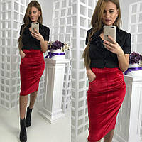Бархатная юбка - карандаш с карманами 581126