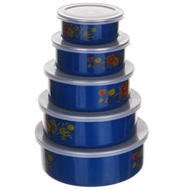 Набор удобных круглых судочков с крышкой A-PLUS 5шт Голубой