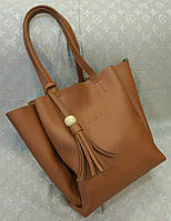Женская сумка копия Zara качественная эко-кожа коричневая