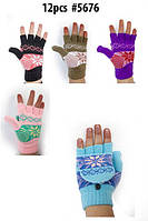 Женские трикотажные перчатки митенки в расцветках