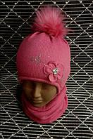 Красивый, теплый зимний комплект шапка+баф., фото 1