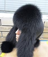 Шапка ушанка женская меховая черная