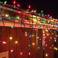 Бахрома 10м Разноцветная 200 LED, уличная на черном проводе, гирлянда 10х0.5