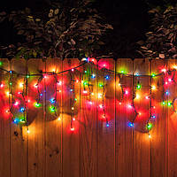 Гирлянда Бахрома - разноцветная мульти,- светодиодная уличная гирлянда, черный провод, 10 метров (10х0.5), фото 1