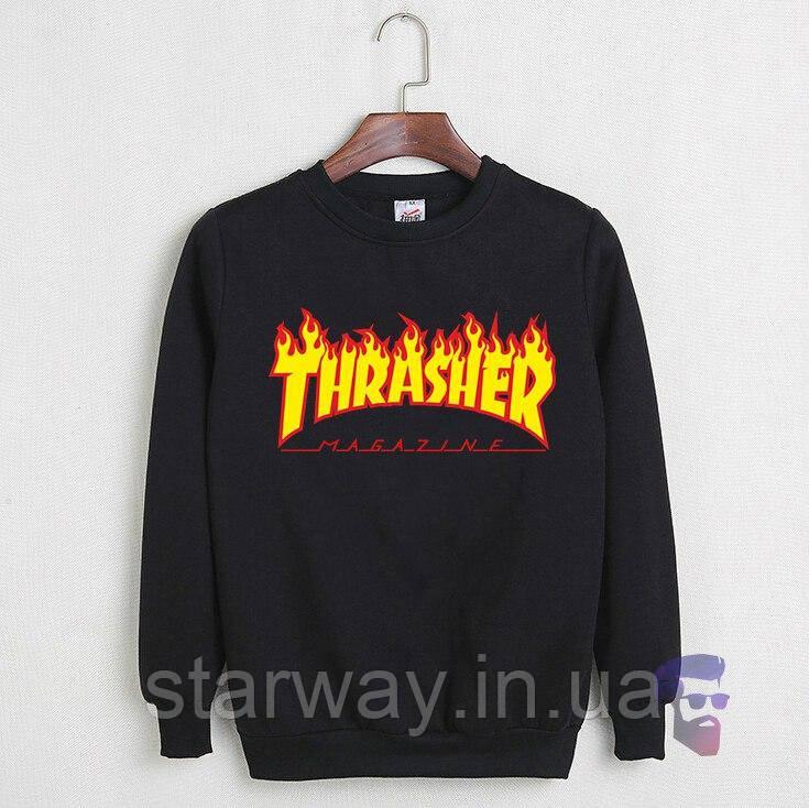 Свитшот чёрный с огненным принтом Thrasher magazine | Кофта трэшер