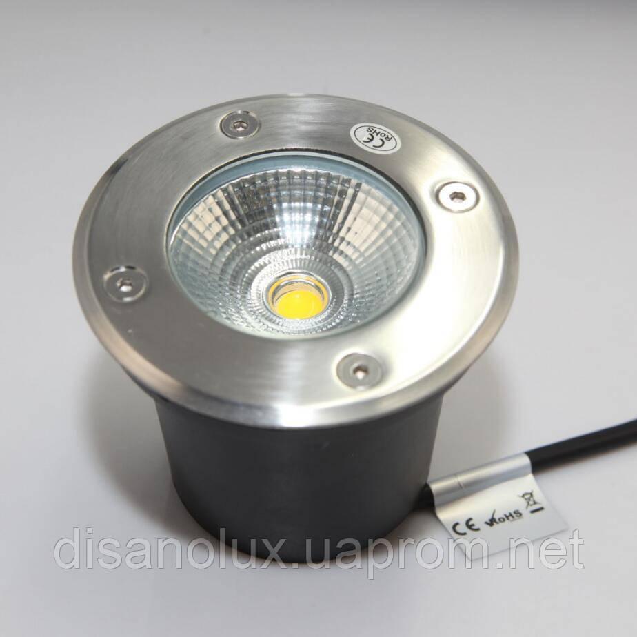 Cветильник грунтовый QR-01 LED COB 12W 230в размер:D100 * 83 мм  IP 67  6000К