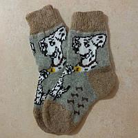Детские шерстяные носки Далматинец 17 см, зимние новогодние носочки