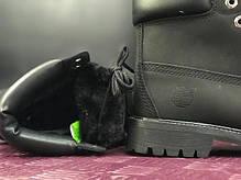 Женские ботинки Timberland Black на меху топ реплика, фото 3