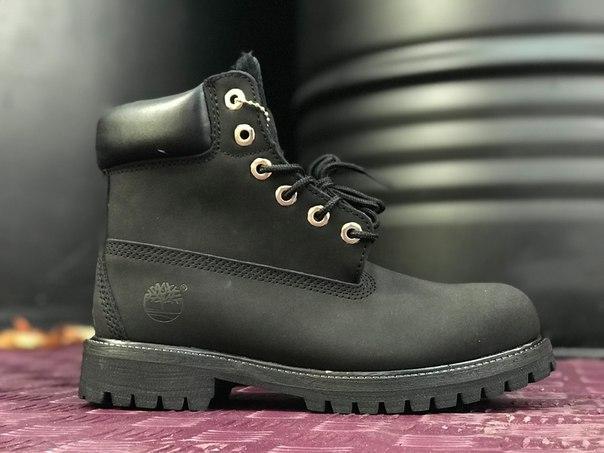 Женские ботинки Timberland Black на меху топ реплика