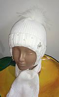 Красивый, теплый зимний комплект шапка+шарф., фото 1