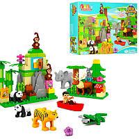 Конструктор JDLT 5285 зоопарк, фигурка, животные, слон-звук, на бат(таб), 106 деталей