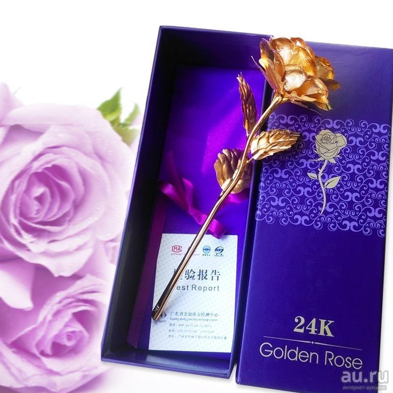 24 К Золотая Роза.  Украшения Цветок Романтический День святого валентина