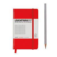 Блокнот Leuchtturm1917 Карманный Красный В клетку (9х15 см) (332077), фото 1