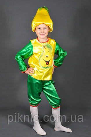Детский карнавальный костюм Груша для детей 3,4,5,6,7 лет. Фрукты для мальчиков и девочек 340, фото 2