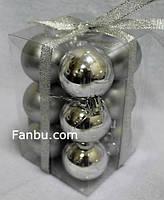 Новогодний набор серебряных шаров(1-упаковка=12штук)d=2.5см