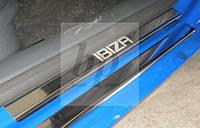 Защитные хром накладки на пороги seat ibiza 3 5д (сеат / сиат ибица 2002-2008)