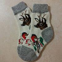 Детские новогодние носки с оленями 17 см, зимние шерстяные носочки