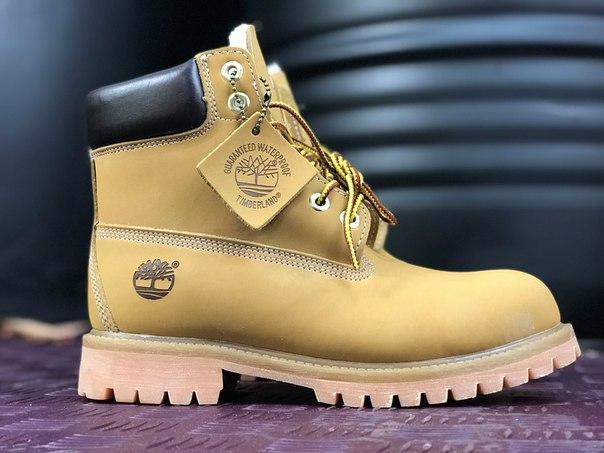Мужские ботинки Timberland Yellow на меху топ реплика