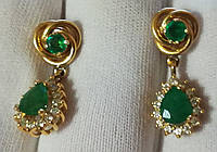 Золотые серьги  585 проба, бриллианты ,изумруды