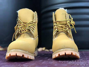 Женские ботинки Timberland Yellow на меху топ реплика, фото 2