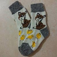 Детские теплые носки с лисичкой 17 см, зимние шерстяные носочки