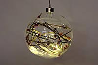 Елочный шар 15 см с декором из веток и LED-гирляндой внутри