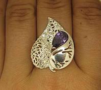 Кольцо серебро 925 проба 20.5 р-р №1085 ЛИСТИК, фото 1