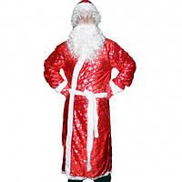 2018 карнавальный костюм Деда Мороза с рисунком (красный)