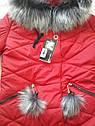 Зимняя женская удлиненная куртка Helena на силиконе с меховыми помпонами Р-ры 40- 54 Красный и изумрудный цвет, фото 6