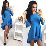 Женское модное платье с удлиненной баской (3 цвета), фото 4