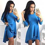 Женское модное платье с удлиненной баской (3 цвета), фото 5