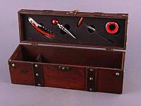 """Винный набор 4 предмета в деревянном футляре """"Сомелье"""" коричневый"""