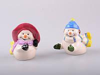 """Набор для специй 2 предмета 10х5х8 см. """"Снеговики"""" керамика, разноцветный"""