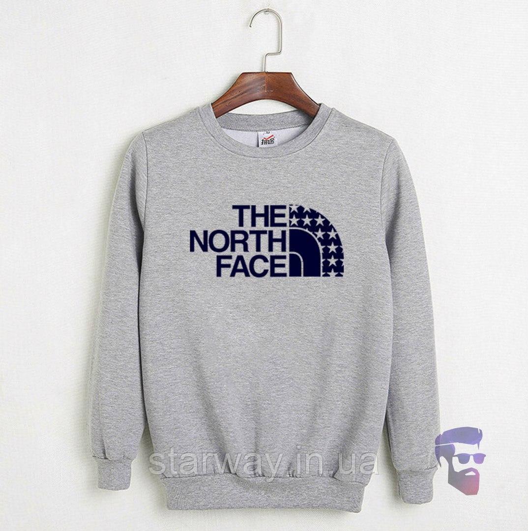 Свитшот серый The North Face звёзды лого | Кофта стильная