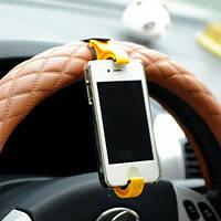 Держатель для телефона на руль автомобиля и велосипеда Желтый
