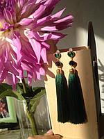 Серьги-кисти зеленые