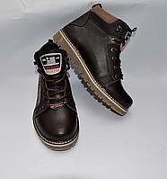 Подростковые зимние кожаные ботинки, SPLINTER, коричневые, прошитые