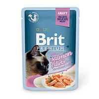 Brit Premium Влажный корм кусочки из филе лосося в соусе для стерилизованных кошек 85гр