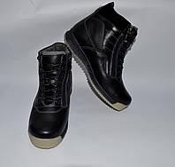 Подростковые зимние кожаные ботинки, MAXUS, черные, прошитые