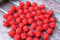 Помпони з люрексом, 1,5 см, 1000 шт/уп, червоного кольору оптом, фото 1