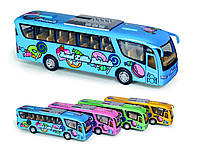 "Машинка жел KINSFUN7"" KS7103W Dessert Bus метал.инерц.откр.дв.кор"