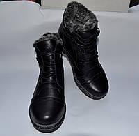 Мужские зимние кожаные ботинки, MISHEL, черные, прошитые