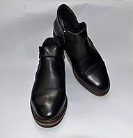Мужские зимние кожаные ботинки, Cevivo, черные, две змейки, прошитые